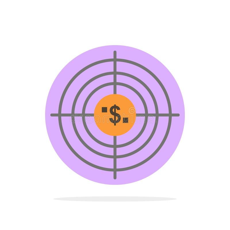 Target, Aim, Business, Cash, Financial, Funds, Hunting, Money Abstract Circle Background Flat color Icon vector illustration