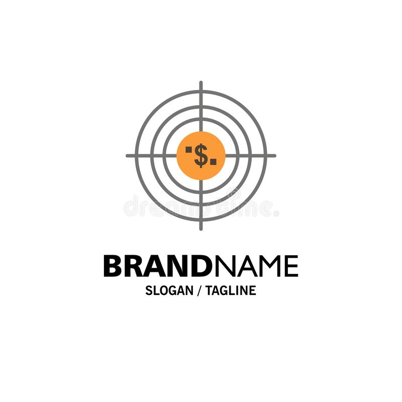 Target, Aim, Business, Cash, Financial, Funds, Hunting, Money Business Logo Template. Flat Color royalty free illustration