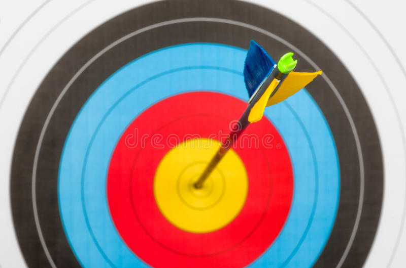 Target with an arrow in the center stock photos