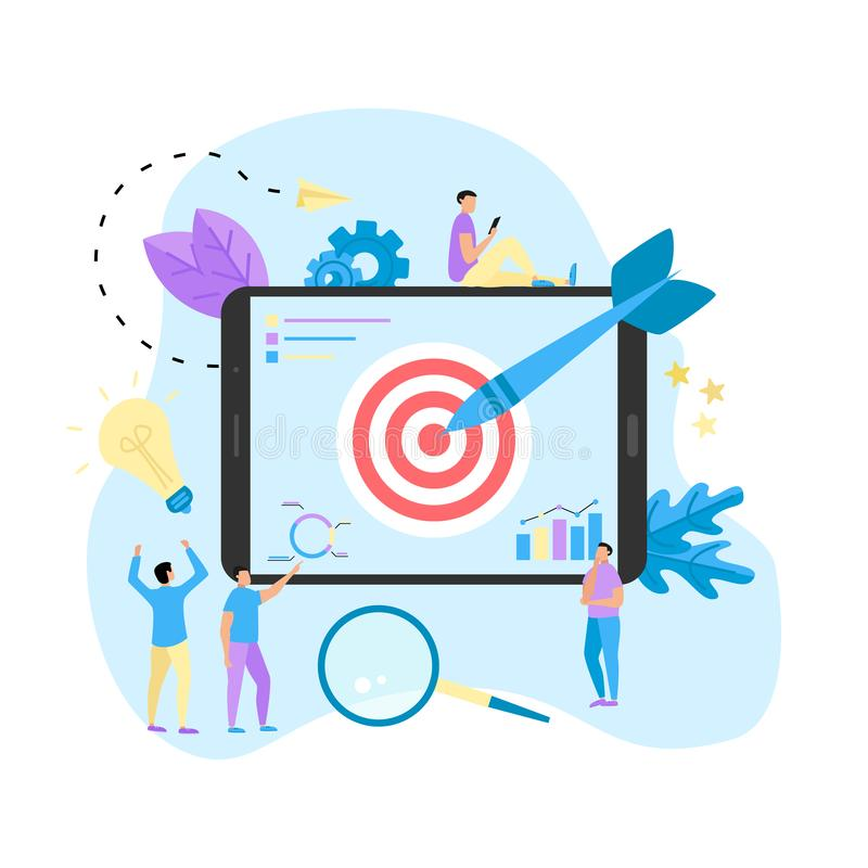 Target with an arrow, hit the target, goal achievement. Business concept vector illustration.  stock illustration