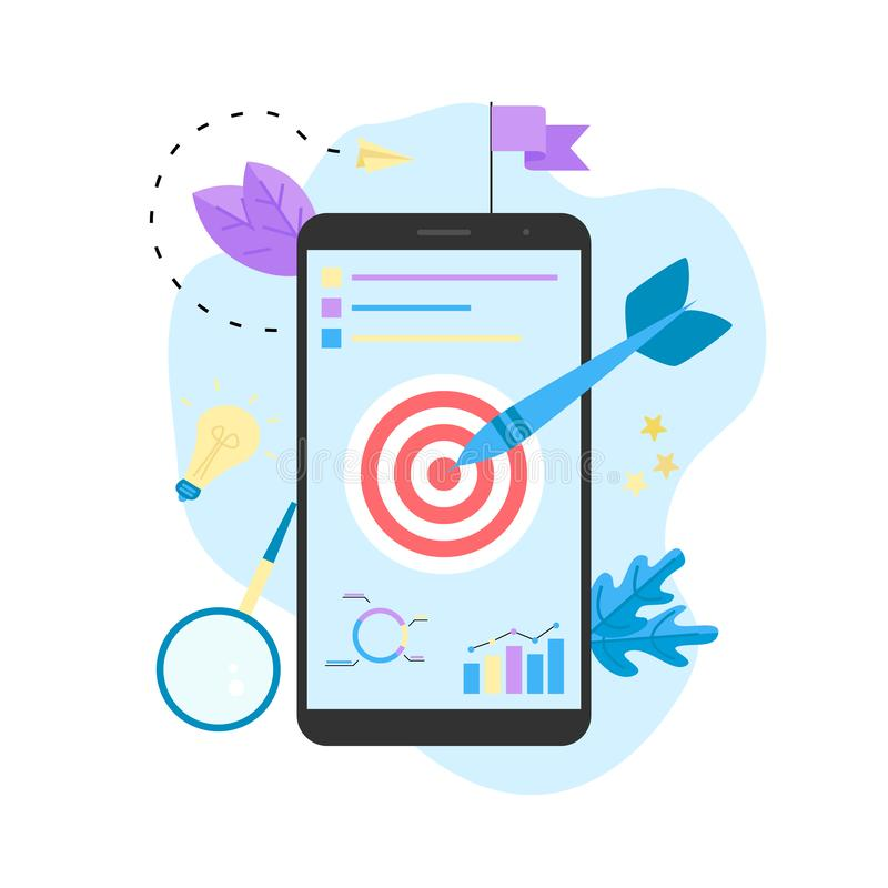 Target with an arrow, hit the target, goal achievement. Business concept vector illustration.  vector illustration