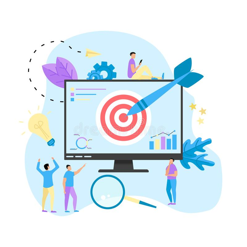 Target with an arrow, hit the target, goal achievement. Business concept vector illustration.  royalty free illustration
