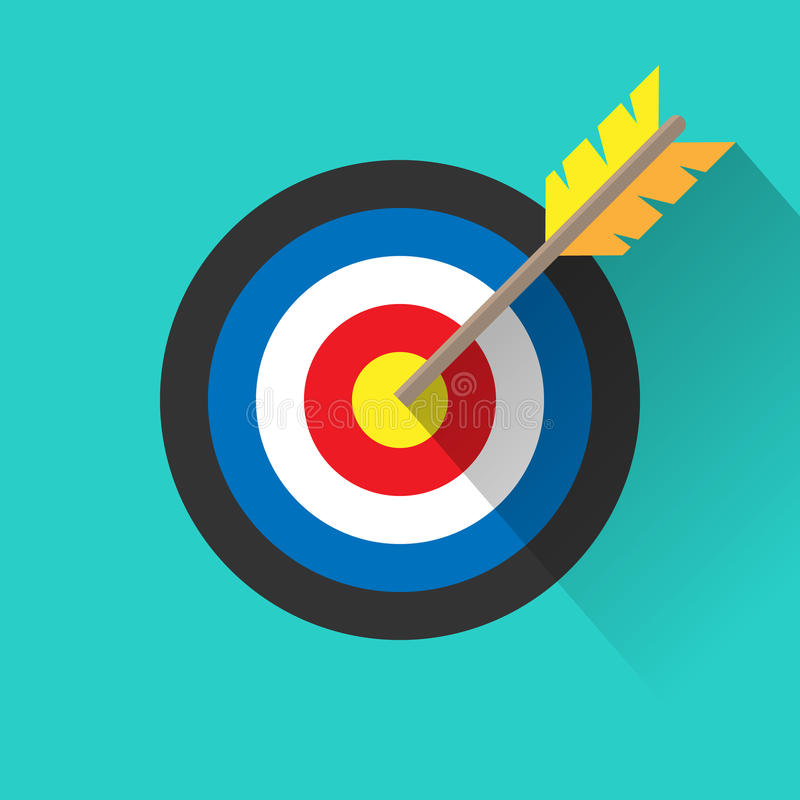 Target with an arrow long shadow flat icon on white background. Vector illustration. vector illustration