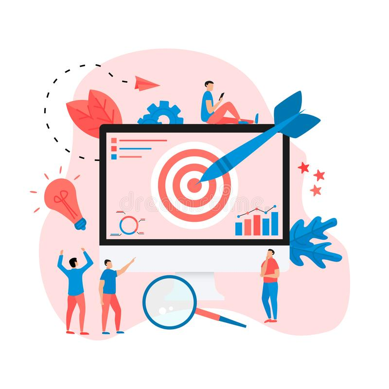 Target with an arrow on monitor, hit the target, goal achievement. Business concept vector illustration.  vector illustration