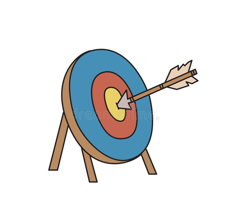 Target and arrow. Objective symbol. Goal icon. Colored line vector illustration. Isolated. stock illustration