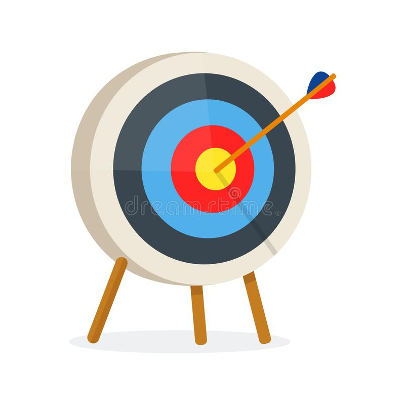 Target with arrow, standing on a tripod. stock illustration