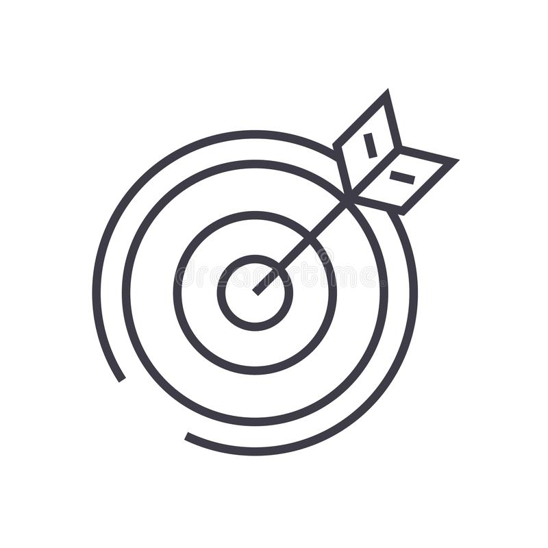 Target, arrow vector line icon, sign, illustration on background, editable strokes royalty free illustration