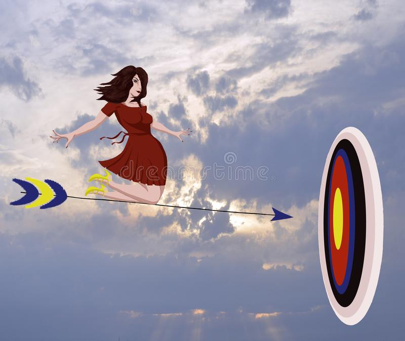 Target arrow white freedom person teenager cloud car jumping nature travel fly beauty happiness people clouds beach woman sky youn. Target arrow white freedom royalty free illustration