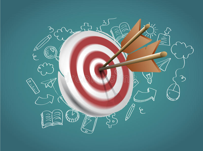Target with Arrows and Doodles stock illustration
