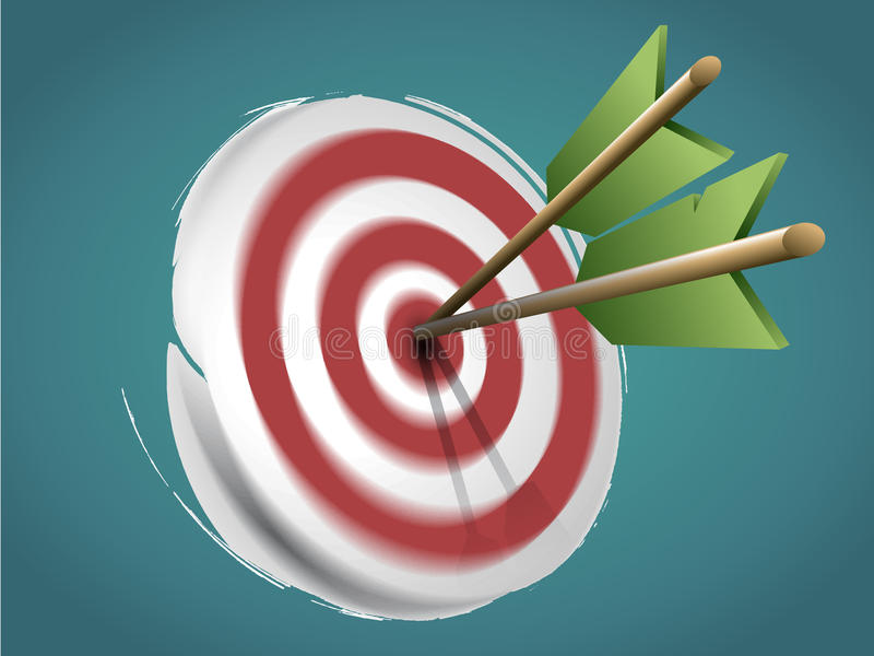 Target with Arrows and Doodles vector illustration