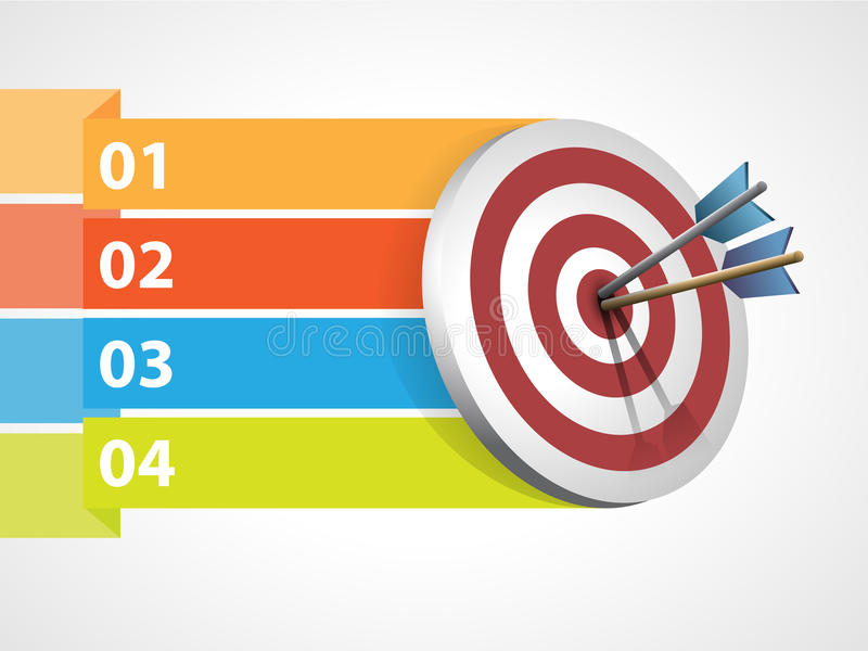 Target with arrows and graphic information vector illustration