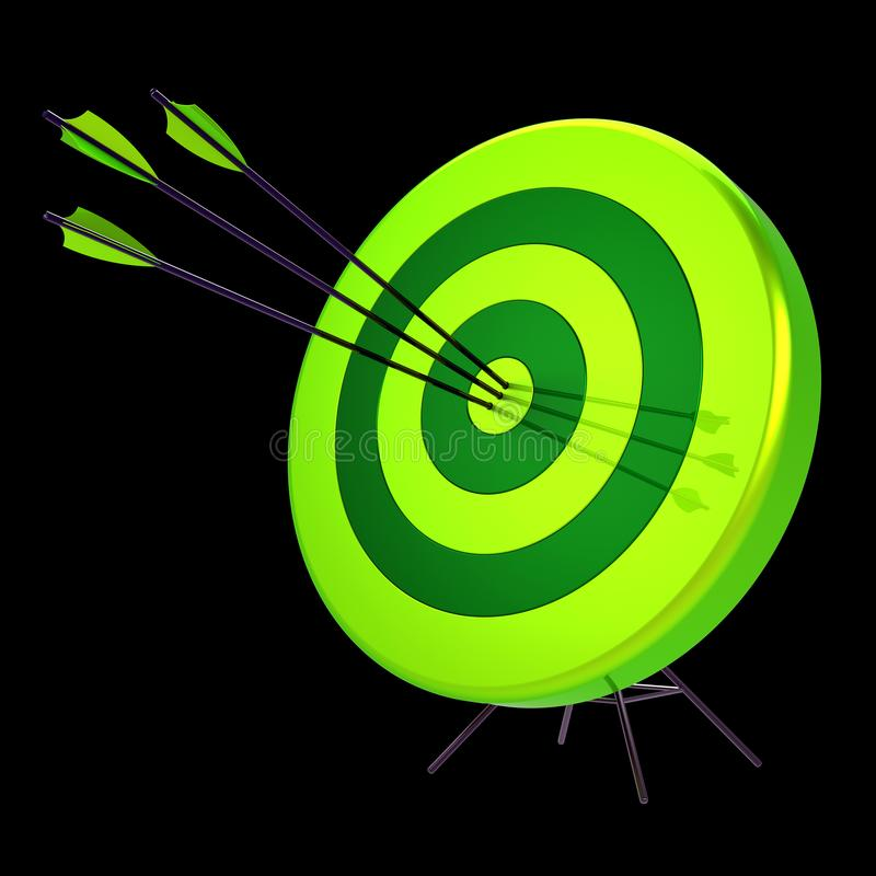 Target arrows success shooting green. Accuracy hitting of bull`s eye. Target arrows success shooting impact green. Accuracy sniper hitting of bull`s eye. Lucky stock illustration