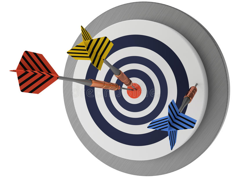Target and arrows, successfull business, trying effort strategy market objective stock illustration