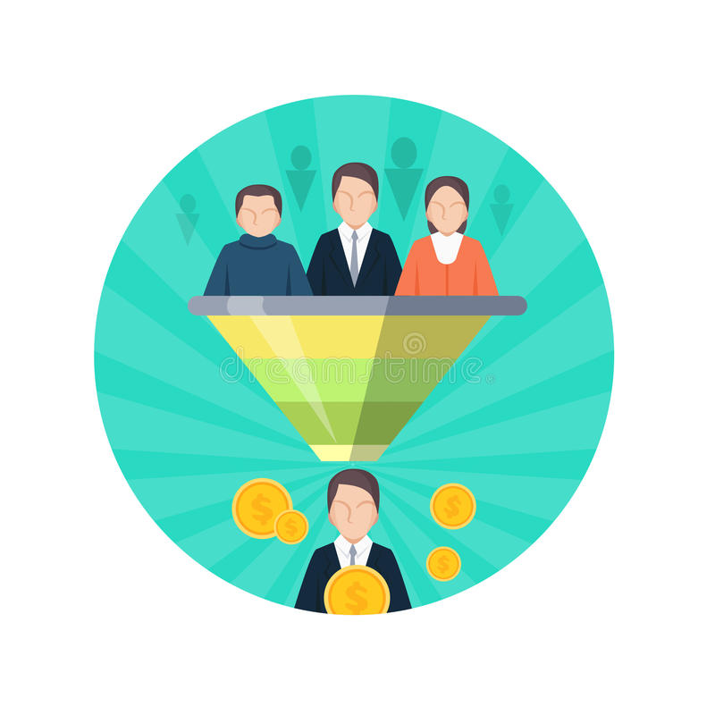 Target Audience Flat Style Seo Icon. People Vector stock illustration