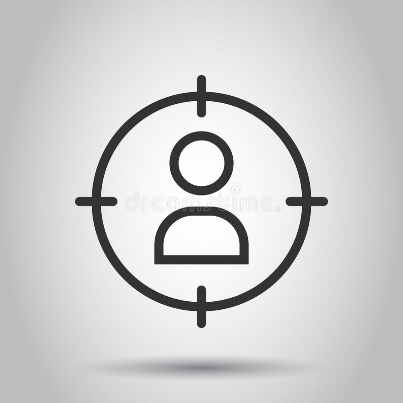 Target audience icon in flat style. Marketing target strategy illustration on white background. Aim on people business concept vector illustration