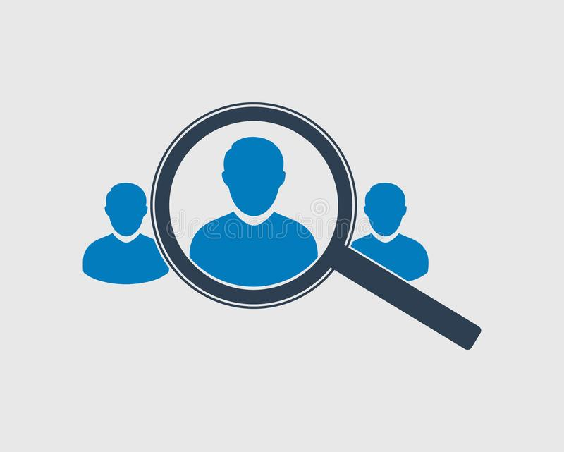 Target audience icon with magnifying glass. stock illustration
