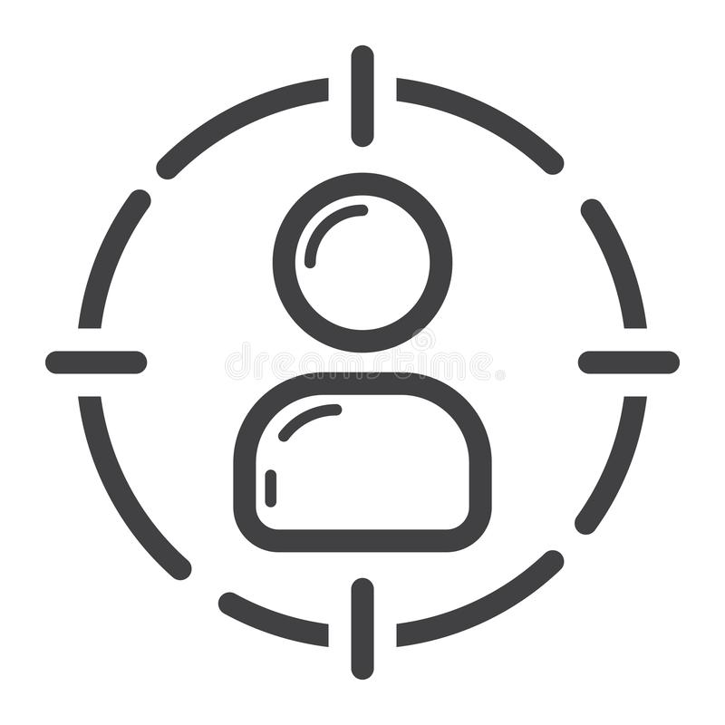 Target audience line icon, seo and development vector illustration