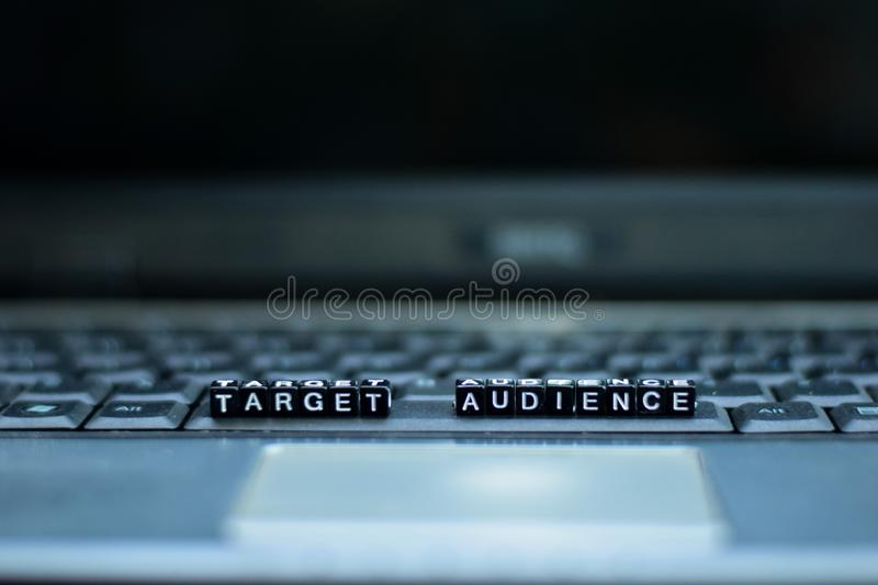 Target Audience text wooden blocks in laptop background. Business and technology concept stock images