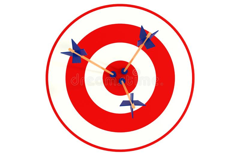 Target board with three arrows, isolated on white background stock illustration