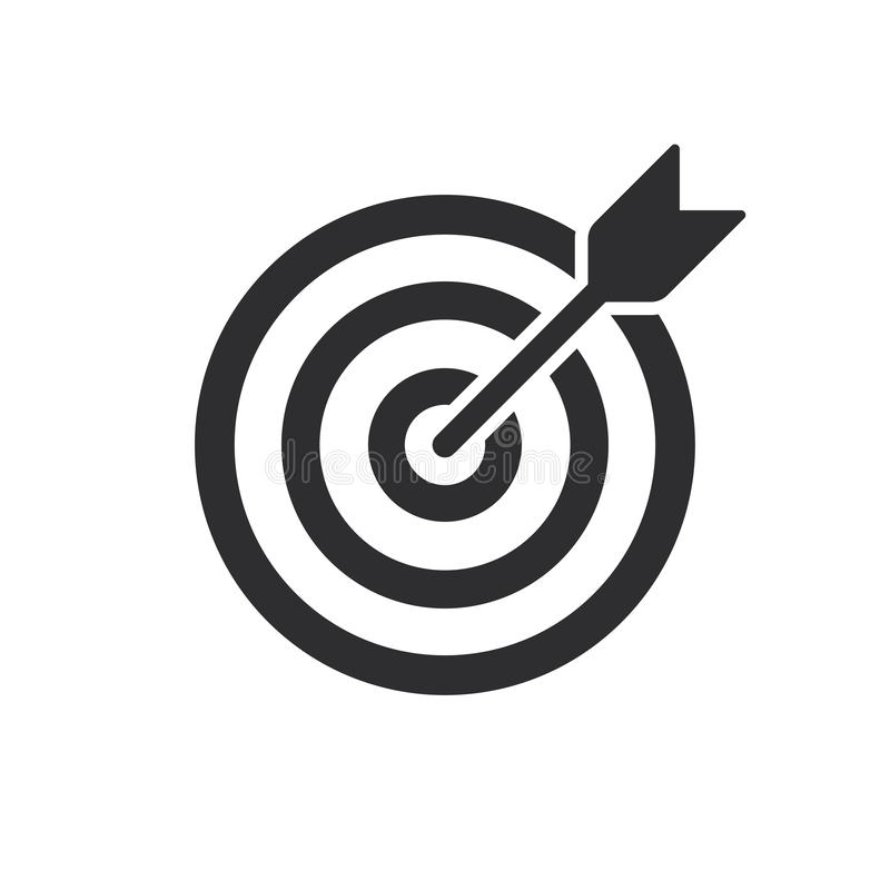 Free Target Bullseye With Arrow Line Art Icon For Apps And Websites Stock Photography - 164357132