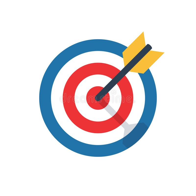 Target, challenge, objective icon. Competitive advantage symbol. successful shot in the darts target. isolated on white background. vector illustration vector illustration