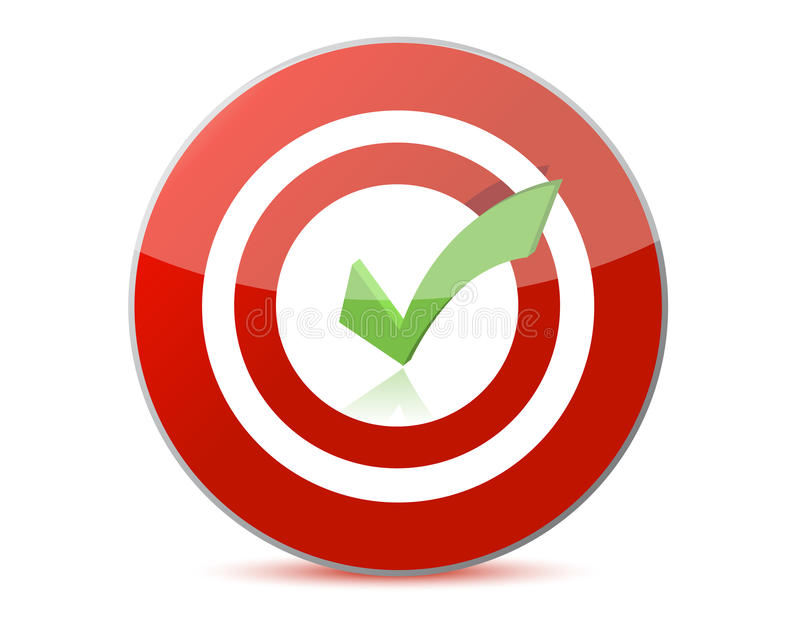 Target with checkmark illustration design royalty free illustration