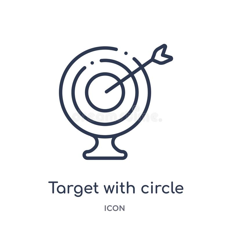 target with circle icon from ultimate glyphicons outline collection. Thin line target with circle icon isolated on white vector illustration