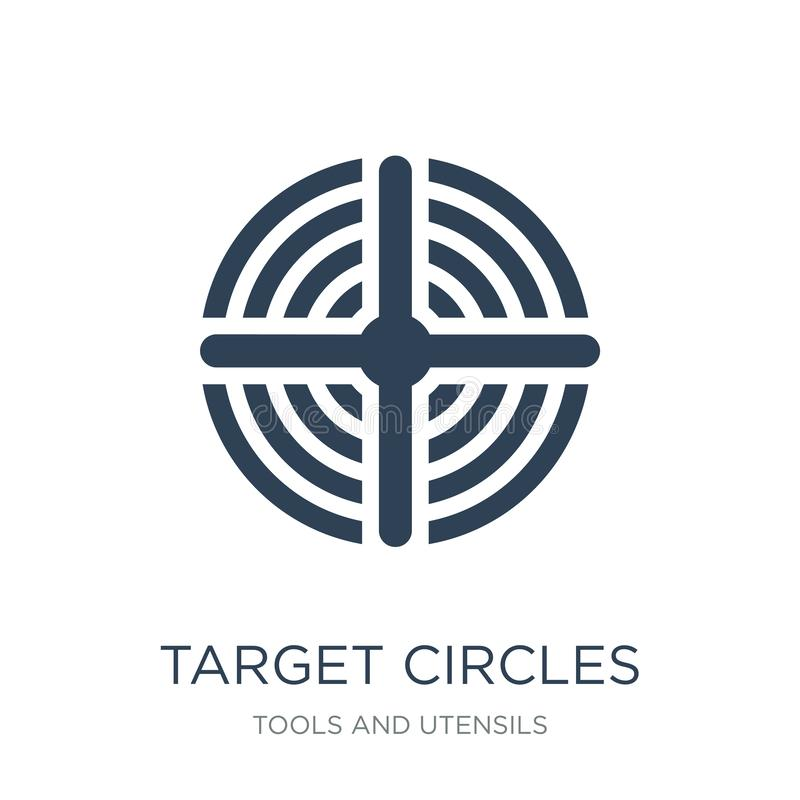 Target circles icon in trendy design style. target circles icon isolated on white background. target circles vector icon simple. And modern flat symbol for web stock illustration