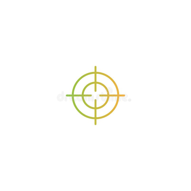 Target crosshair line icon. Aim, goal, focus sign. orange and green gradient pictogram royalty free illustration