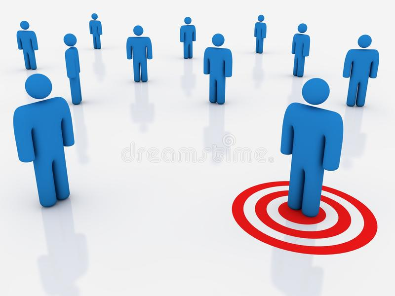 Target customer. Targeting a customer, abstract concept. Computer render vector illustration