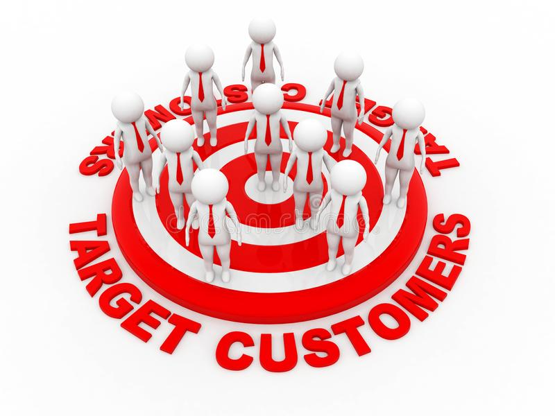 Target Customers, Red Target. 3d rendering vector illustration