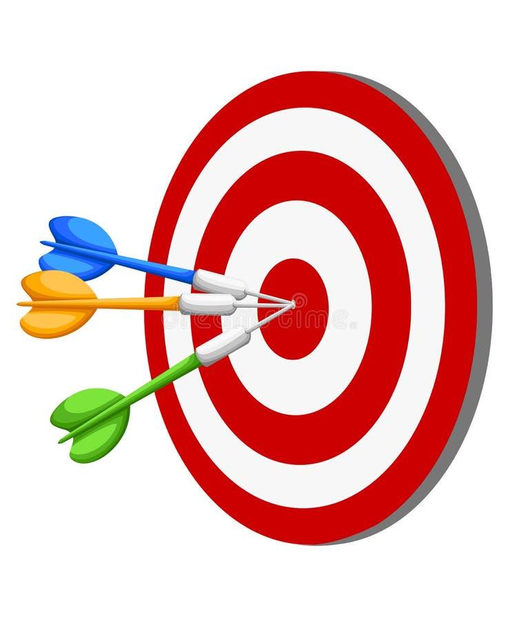 Target Dart arrow hitting center target on white background, flat illustration Web site page and mobile app design e. Lement vector illustration