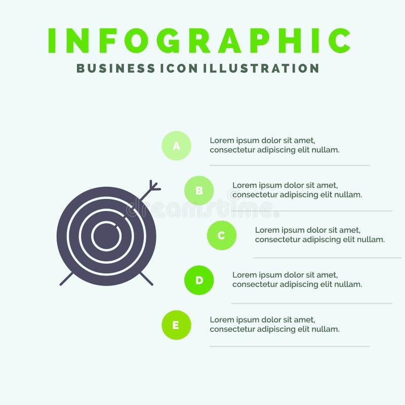 Target, Dart, Goal, Focus Solid Icon Infographics 5 Steps Presentation Background vector illustration