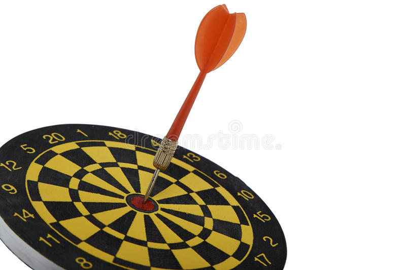 Target dart with red arrow isolated on white background stock photos