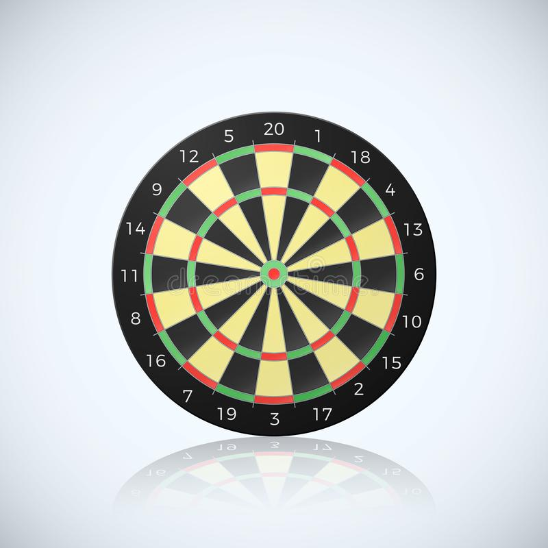 Target for darts arrow. Vector illustration of dart board with reflection on white background stock illustration