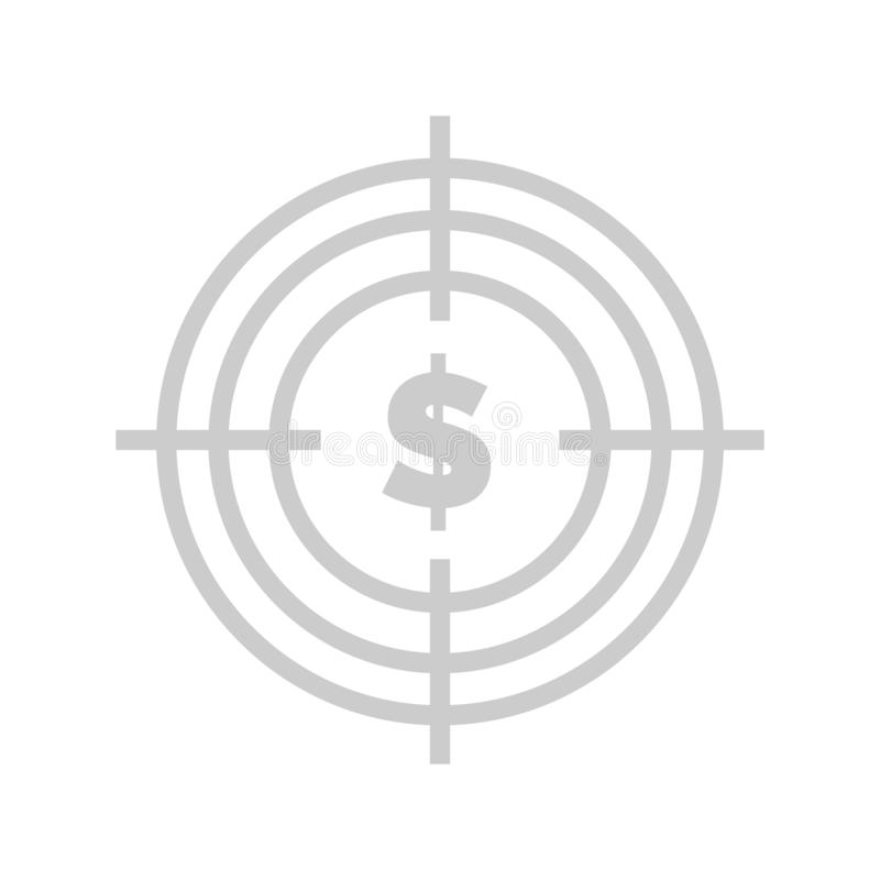 Aim with Money, Profit from Business Website Text. Target with dollar vector, American currency in circle aim with lines, spot isolated flat style. Business and stock illustration