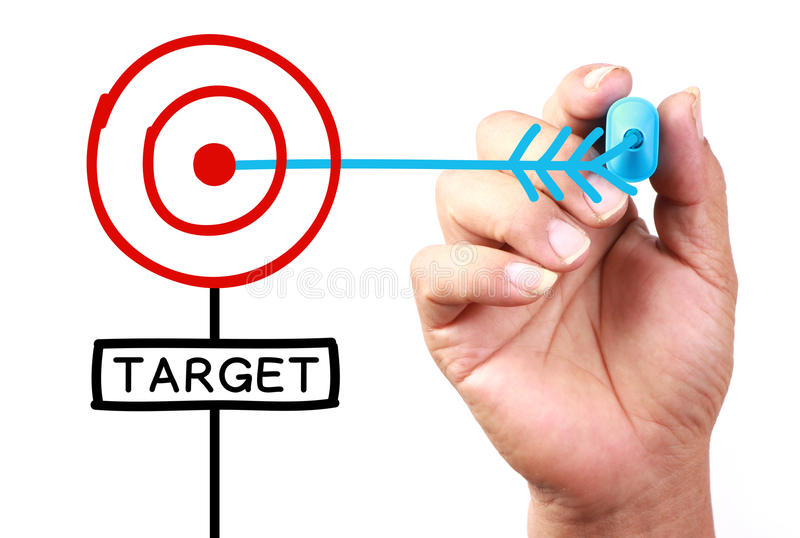 Target. Drawing 'Get Your Target' Concept on transparent white board with blue marker stock image