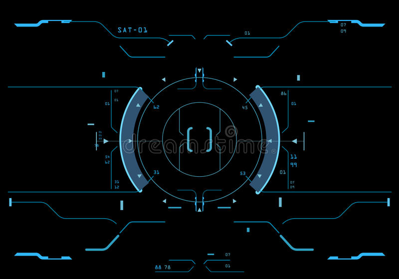 Target element of the interface. Element of the interface. A sight on a spaceship. The interface of the future stock illustration