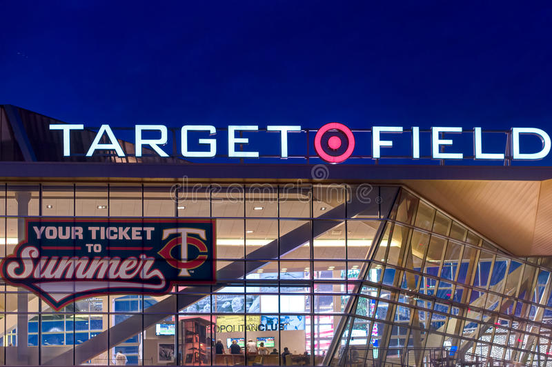 Target Field. MINNEAPOLIS, MN/USA - MAY 23, 2016: Exterior of Target Field, home of the Minnesota Twins Major League Baseball team stock images