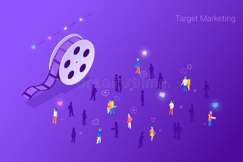 Target focus group audience for Cinema Stream Film Content Marketing Advertising Isometric Flat vector illustration concept. vector illustration