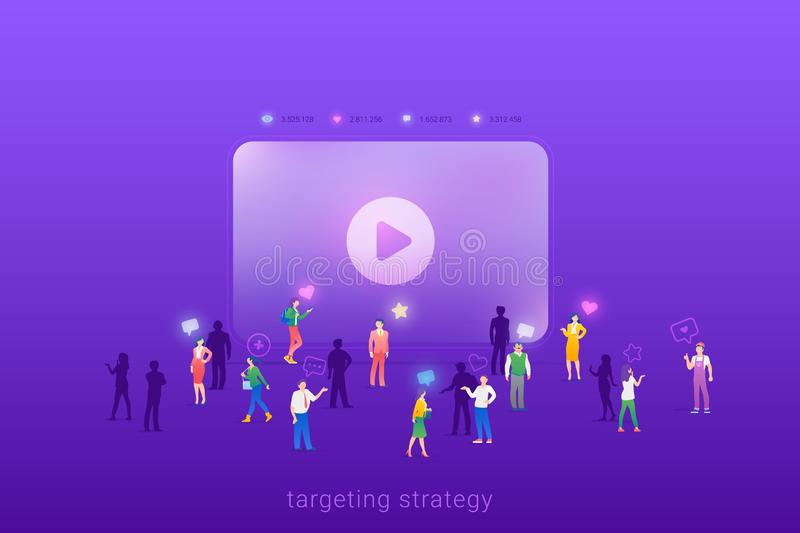 Target focus group audience for Video Stream Digital Content Marketing Advertising Flat vector illustration concept. Targeting in royalty free illustration
