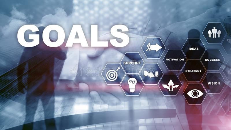 Target Goals Expectations Achievement Graphic Concept. Business development to success and growing growth.  stock image