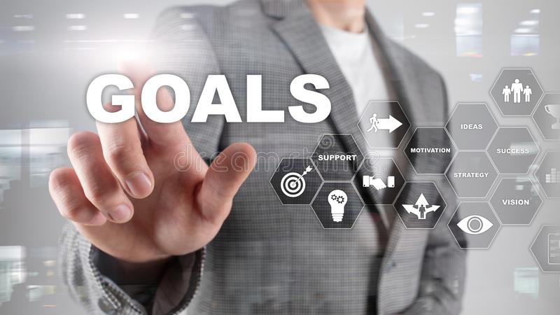 Target Goals Expectations Achievement Graphic Concept. Business development to success and growing growth. Target Goals Expectations Achievement Graphic Concept royalty free stock image