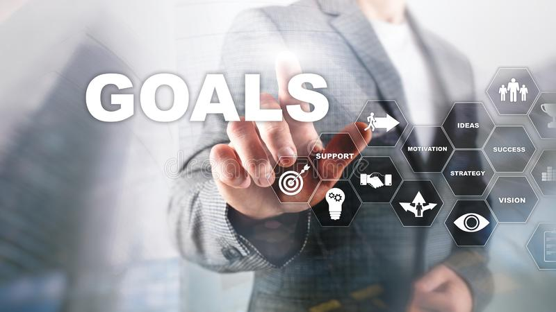 Target Goals Expectations Achievement Graphic Concept. Business development to success and growing gro. Wth stock photography