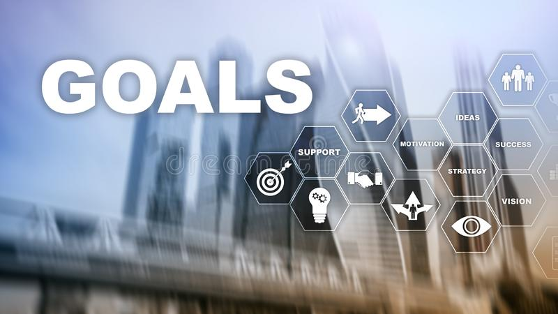 Target Goals Expectations Achievement Graphic Concept. Business development to success and growing growth.  royalty free stock photography