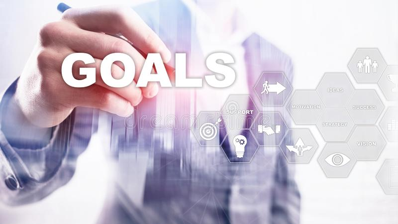 Target Goals Expectations Achievement Graphic Concept. Business development to success and growing growth.  royalty free stock photos