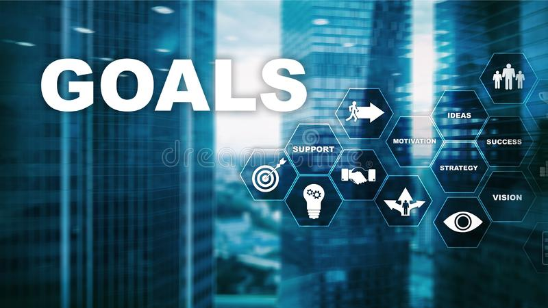 Target Goals Expectations Achievement Graphic Concept. Business development to success and growing growth team oriented solution friendship mission support stock photo