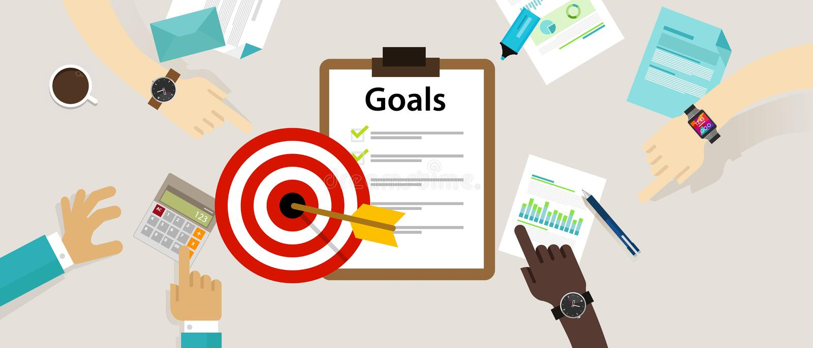 Target goals vector icon success business strategy concept team work stock illustration