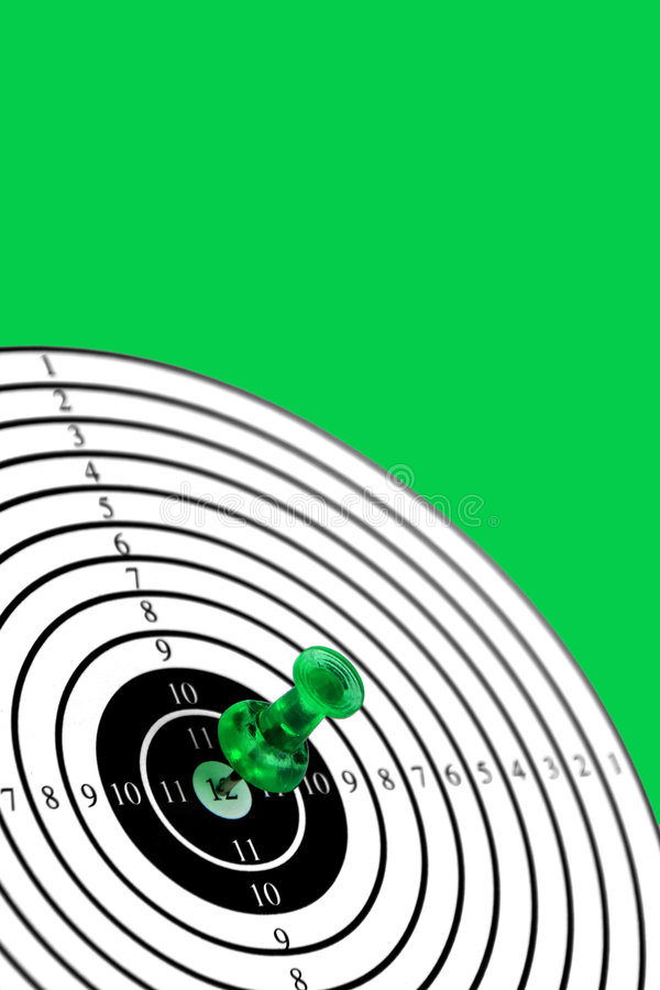 Target on green background. Target or target-card with green pin isolated on green background, get your targets ,see also my other images of targets royalty free stock image