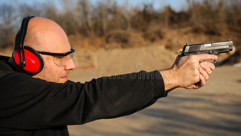 Target gun shoot practice and weapons training. Outdoor shooting range royalty free stock images